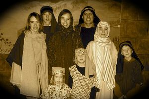 """The Elder family dressed up for our church's annual Christmas production, """"Bethlehem Walk,"""" in December 2006. The back four, from left to right are: Karis, Lucas, Lana, Eric. The front row includes: Kaleo, Bo, Makari and Josiah. Click the picture if you'd like to print it to use as a prayer reminder for us. Thanks!"""